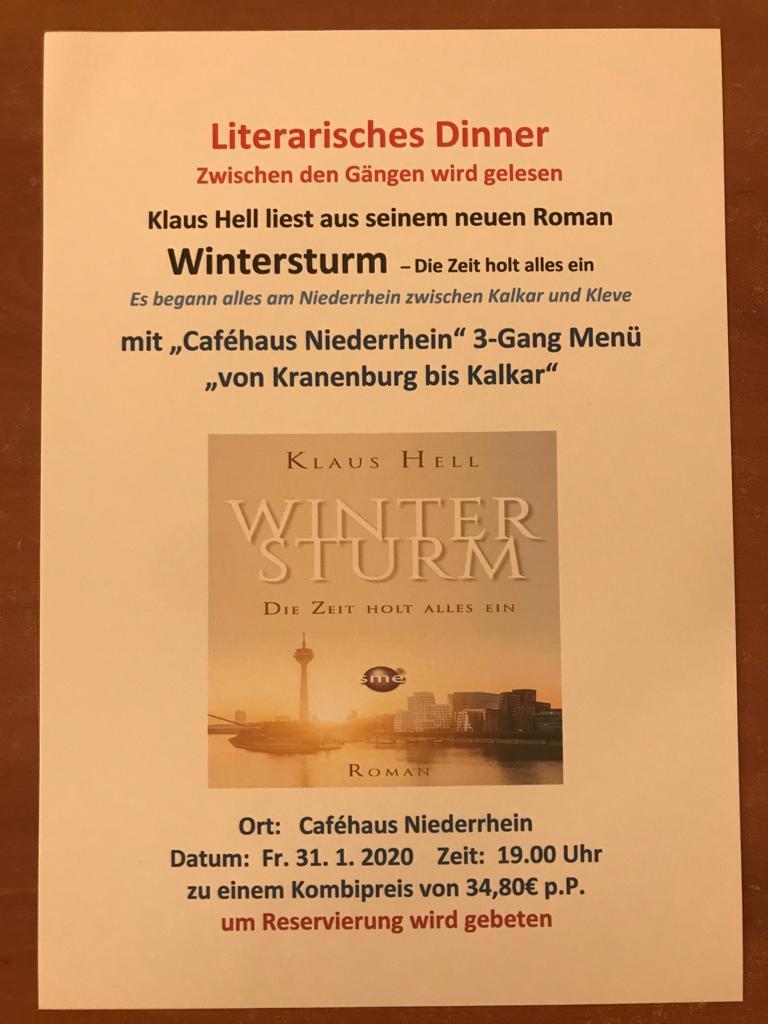 Literarisches Dinner im Cafehaus Niederrhein